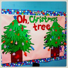 Christmas Bulletin Board made with children's hand prints for Preschools, EYFS, Nursery Schools and Childminders Preschool Christmas Crafts, Noel Christmas, Christmas Crafts For Kids, Christmas Activities, Holiday Crafts, Christmas Decorations, Preschool Decorations, Toddler Christmas, Snowman Crafts