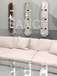 Our Lea Wall Mounted Mirrored Shelves are a piece of art and a shelf unit all in one. All mirrored parts have beautiful beveled edge polish and look stunning. The base is made from wood and covered with mirror panels. No matter what you put there it will be an accent which will attract the attention of your guests and visitors. This mirrored shelf unit can make all the difference in your living space. And please remember that we have a whole range of mirror types for you to choose from…