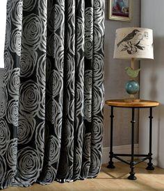encontrar ms cortinas informacin acerca de peona negro jacquard cortinas de la ventana de la tela