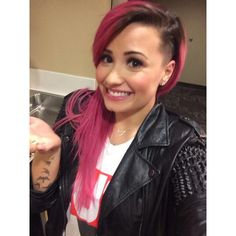Demi Lovato Shaves Side of Her Head and Tweets the Pic—Check It Out! ❤ liked on Polyvore featuring hair