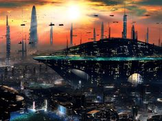 Sci-Fi City the Future | City Sci Fi Sunset Future Skyscrapers Wallpaper Photos Pictures Design ...