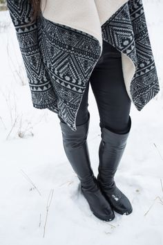 Fleece-lined Aztec sweater and Stuart Weitzman boots. #ootd #fashion #outfit