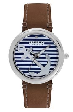 Sperry+'Sandbar'+Anchor+Dial+Leather+Strap+Watch,+40mm+available+at+#Nordstrom