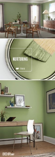 Turn your home into a peaceful oasis with the BEHR Paint Color of the Month: Nurturing. This light green hue comes together with wood furniture and bright white trim to create a traditional interior design look with elements of boho-chic style. Click here for more home decor inspiration.