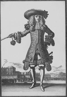 Officier. Wearing a large brimmed hat, not turned back yet. The early rather straight Justaucorps is tailored to the figure, the skirts not flared yet, and made from brocade. Ribbon bows en masse at the sides of his rhinegraves over culottes (breeches) and on the waistband. Note: the justaucorps doesn't reach down to the knees yet, 1673. French