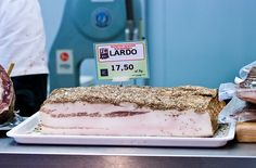 """Tuscany Food """"lardo"""" Wrap a thin slice around the middle of lightly grilled asparagus and instant gratification"""