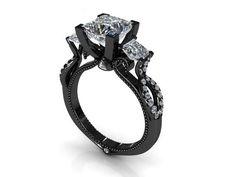 2.00 ct Princess Cut 3 Stone Diamond Engagement Ring VVS1 / D 14k Black Gold