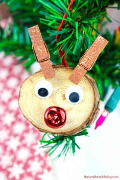 Easy to Make Rudolph Christmas Ornaments Kids Will Love - Natural Beach Living Stick Christmas Tree, Rudolph Christmas, Kids Christmas Ornaments, Felt Christmas, Diy Christmas Gifts, Handmade Christmas, Christmas Crafts For Kids To Make, Christmas Ideas, Christmas Games