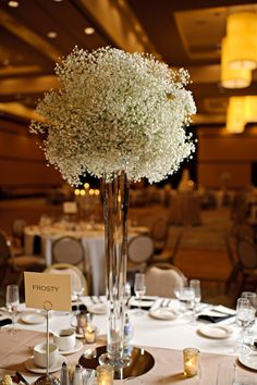 Tall Centerpiece Baby's Breath - Winter Wedding - Little Tree Studios Photography - Posy