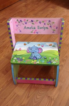 Custom Personalized Hand Painted Step Stool by paintingbymichele, $145.00