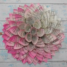 Pink Dahlia Sheet Music Wreath  Girl Nursery Decor  by LucyBirdy, $50.00