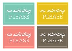 No Soliciting  DIGITAL DOWNLOAD by LyndsayJohnson on Etsy, $1.00