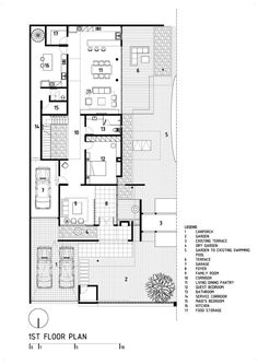 D+S House was designed in 2013 by DP+HS architects, covers an area of 557 sqm and is located in Jakarta, Indonesia House Layout Plans, House Layouts, House Floor Plans, Home Design Plans, Plan Design, Architecture Plan, Architecture Details, Single Storey House Plans, Duplex House Design