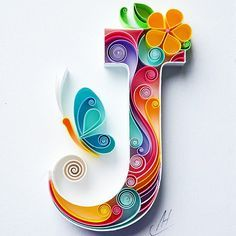 J - Quilling wall paper art - Letter J - Paper art - Personalized Monogram Gift - Birthday gift - Handmade - Custom - Gift for girl : larissa Zasadna Quilling Paper Art by LarissaZasadna on Etsy