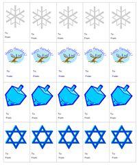 Hanukkah printables, gift tags and stickers Hanukkah Crafts, Hanukkah Decorations, Hannukah, Holiday Crafts, Holiday Fun, Christmas Stickers, Christmas Printables, Gift Labels, Gift Tags
