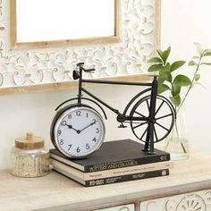 Fleur De Lis Living Bicycle Table Clock | Wayfair Metal Vintage, Vintage Table, Clock Decor, Desk Clock, Bicycle Clock, Bike, Modern Desk, Modern Contemporary, Tabletop Clocks