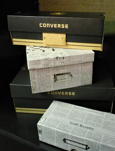cover shoeboxes with newspaper for stylish frugal storage, crafts, decoupage, Stylish but frugal storage