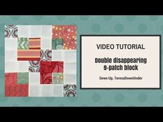 Video tutorial: double disappearing 9 patch block – Sewn Up Quilting For Beginners, Quilting Tips, Quilting Tutorials, Quilting Designs, Disappearing Nine Patch, Nine Patch Quilt, Big Block Quilts, Quilt Blocks, Quilt Binding