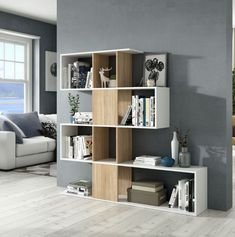 2842af3bfbf6 The modern large Zig Zag bookcase in a high quality white and oak effect  finish This