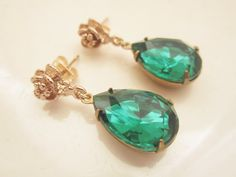 Emerald Earrings Bridesmaid Gift Vintage Emerald by GoingHoLLyWood, $26.00
