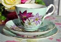 Harrowby Duck Egg and Clematis Teacup Trio c.1950's