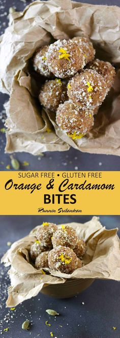 These Orange Cardamom Bites are gluten-free, dairy-free, and refined sugar-free are a wonderful no-bake. energizing snack - Recipe at RunninSrilankan.com Gluten Free Baking, Gluten Free Desserts, Healthy Desserts, Raw Food Recipes, Gluten Free Recipes, Delicious Desserts, Snack Recipes, Top Recipes, Vegetarian Recipes