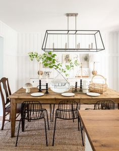 Wire Dining Chairs, Mismatched Dining Chairs, Black Dining Room Chairs, Wooden Dining Tables, Dining Room Table, Dining Area, Dining Rooms, Table Lamps, Kitchen Lighting Over Table