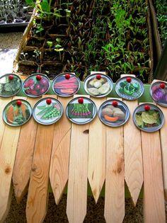 Juice can lid garden markers