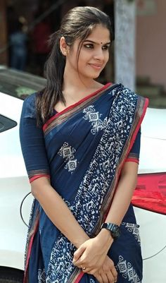 Cotton Saree Elegant Indian Sari CLICK Visit link above for more options Trendy Sarees, Stylish Sarees, Simple Sarees, Fancy Sarees, Saris, Indigo Saree, Cotton Saree Designs, Look Formal, Casual Saree