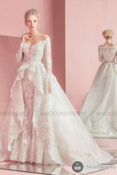 A-Line Wedding Dresses Arabic Lace Backless Bridal Gowns with Detachable Train Zuahir Murad 2016 Off-Shoulder Long Sleeve Wedding Gowns Online with $162.1/Piece on Magicdress2011's Store | DHgate.com