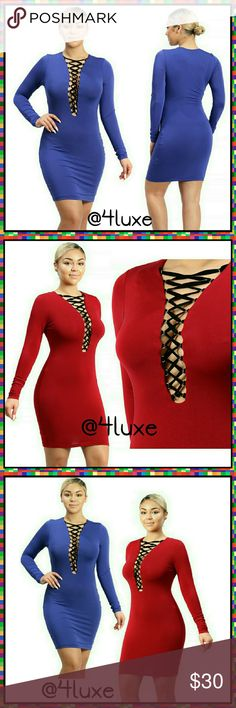 😍👗🎉Long Sleeve Bodycon Dress Lace Up Front These confidence assuring dresses will make every jaw in t room drop! The phenomenal thing about bodycon dresses are they are flattering for all body types! They accentuate all your God given curves and give you the instant hourglass shape!   🎁Soft Inside Lining 🎁Long Sleeve  🎁Lace Up Front 🎁Velvet Laces 🎁95% Rayon  🎁5% Spandex WTD Dresses Long Sleeve