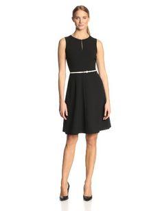 Calvin Klein Women's Petite Sleeveless Belted Dress, Black, 12/Petite - http://r1m.biz/?p=3478