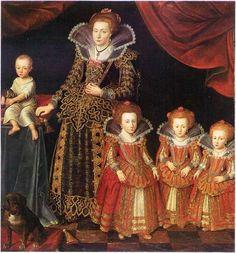 Kirsten Munk with her eldest four children, painted in 1623 by Jacob von Doordt