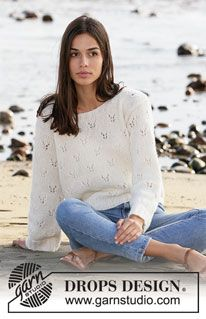 Butterfly Explosion - Knitted jumper in DROPS Air. The piece is worked with lace pattern. - Free pattern by DROPS Design Drops Design, Free Knitting Patterns For Women, Sweater Knitting Patterns, Scarf Patterns, Crochet Patterns, Aran Weight Yarn, Crochet Diagram, Yarn Brands, Work Tops