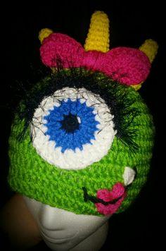 Girlie monster hat...perfect for the monster on your list. $12 + shipping. Delta Belle Crochet and More by Brandylin Pensis.   Www.facebook.com/oneknottyhookercrochet