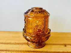 Indiana Glass Fairy Lamp Candle Holder Stars And Stripes Pattern Amber Vintage Glassware My Glass, Amber Glass, Glass Art, Fairy Lanterns, Fairy Lamp, Brown Candles, Crystal Aesthetic, Candle Lamp, Antique Lamps