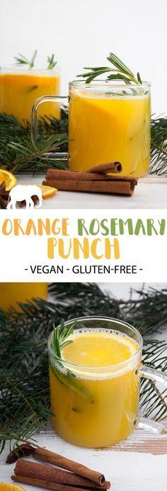 Orange Rosemary Punch - a warm and delicious alcoholic drink for the christmas season! #vegan #drink #alcohol #orange #rosemary #festive #punch | ElephanasticVegan.com via @elephantasticv