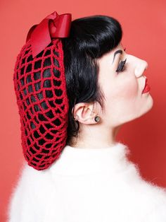 Create Easy Vintage Hairstyles Vintage Retro Pinup Hair Snood in Cherry Red Crocheted from 1940s Design Featured in Victory Girls Magazine $26.00 AT vintagedancer.com