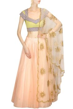 Peach rust firework embroidered lehenga set available only at Pernia's Pop Up Shop.