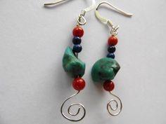 Genuine turquoise, southwestern style, dangle earrings, handmade | JosiannesJewelry - Jewelry on ArtFire