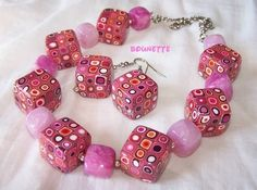 "So pretty! The tutorial for the translucent beads between the mod canes is on my ""Fab Polymer Clay Tutorials"" board."