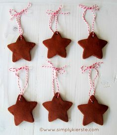 Cinnamon ornaments: Mix 3/4 applesauce and 1 c. + 1 Tbsp. cinnamon until it makes a dough. Roll dough to 1/3-in.-thick, and cut desired ornament shapes. Bake at 200 degrees F for 2 1/2 hrs. Can also dry at room temperature for 1-2 days instead of baking.