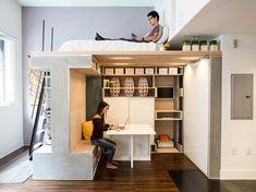 kleine wohnung einrichten einrichtungsbeispiele einzimmerwohnung deko ideen Small Studio Apartment Design, Tiny Studio Apartments, Loft Bed Studio Apartment, Modern Apartments, Loft Room, Modern Lofts, Beds For Small Rooms, Small Living Rooms, Small Bedrooms