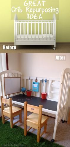 Do you have an old crib that you no longer need?  Well, this is a GREAT idea and a great way to use an old crib to turn it into an art station or desk for your kids! We love the organizational aspects and practical uses that this brings! Check it out!