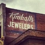 Kimballs Jewelers sign on the side of a building, Downtown Knoxville