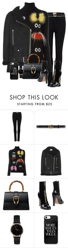 """Sem título #5492"" by lguimaraes ❤ liked on Polyvore featuring Paige Denim, Gucci, Fendi, Acne Studios, Valentino and Freedom To Exist"