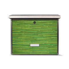 Burg-Wächter Briefkasten aus Edelstahl mit Namensschild und Motiv: Bambus Grün