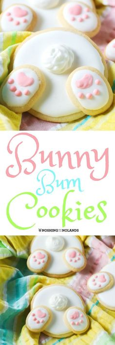 Bunny Bum Cookies by Noshing With The Nolands are the cutest. Bunny Bum Cookies by Noshing With The Nolands are the cutest cookies for Easter and spring! Have fun with the family decorating and eating them! Cute Cookies, Easter Cookies, Easter Treats, Holiday Cookies, Holiday Treats, Holiday Recipes, Easter Food, Sugar Cookies, Baby Cookies