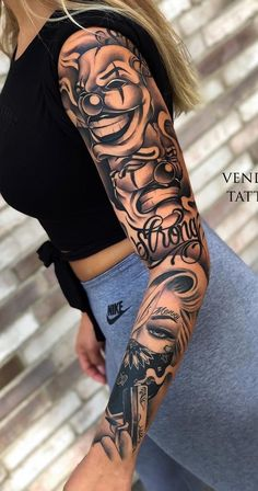 Bild von IMG 0011 im Girls Album Maska # Image # - diy tattoo images Forearm Sleeve Tattoos, Girls With Sleeve Tattoos, Best Sleeve Tattoos, Tattoo Sleeve Designs, Tattoos For Women Small, Tattoos For Guys, Female Tattoo Sleeve, Chicano Tattoos Sleeve, Girl Arm Tattoos