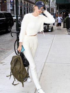 Majorelle Daisy Crop Top in Ivory as seen on Gigi Hadid